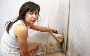 Woman peeling back wallpaper to reveal black mold